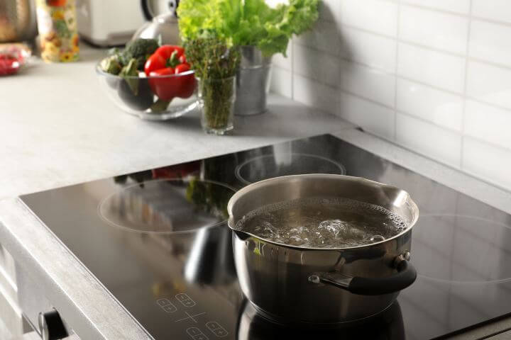 Boiling water on induction cooktop