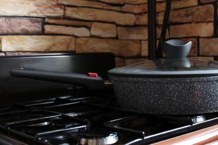 Pan on a gas cooktop