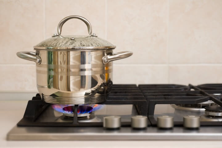 Boiling Pot On The Gas Range
