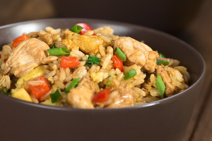 Fried rice in brown bowl